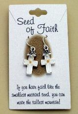 Image of Cross Shaped Mustard Seed Earrings