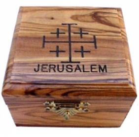 Jerusalem Olive Wood Rosary Box