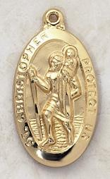 Large Gold over Sterling Silver Saint Christopher Medal with engravable pendant