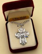 Image of Large Sterling Silver 4-Way Medal