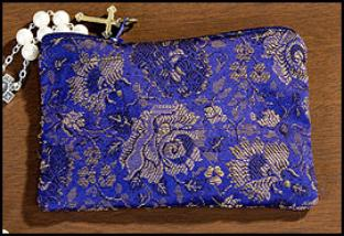 Blue Rose Brocade Rosary Case with metal zipper