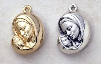 Gold and Silver Madonna and child St. Mary Medals
