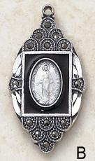 Image of Catholic Sterling Silver and Marcasite Miraculous Medal