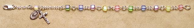 All Sterling Silver Multicolor Cube Swarovski Crystal Bead Rosary Bracelet