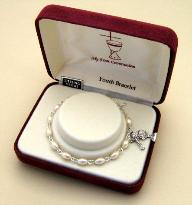 Oval Pearl First Holy Communion Bracelet