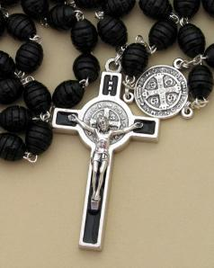 Image of Black Carved Wood Bead St. Benedict Rosary