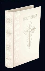Personalized NABRE White Bonded Leather Catholic Wedding Bible