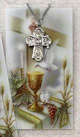 Pewter 4-way medal and Confirmation Prayer Card