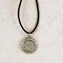 Pewter Saint Anthony Medal with leather cord
