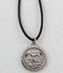 Pewter St. Michael the Archangel Patron Saint Medal with leather cord and engravable pendant