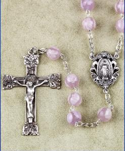 Pink Venetian Glass Bead Rosary with Sterling Silver Crucifix and center.