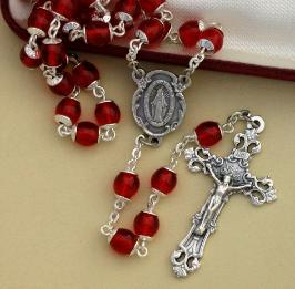 Image of Red Glass Rosary