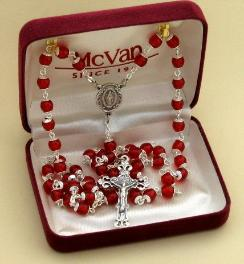 Image of Red Glass Rosary in Gift Box