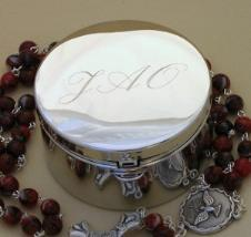 Engraved Metal Rosary Case in script only