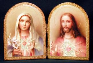 Sacred Heart of Jesus and Immaculate Heart of Mary Diptych