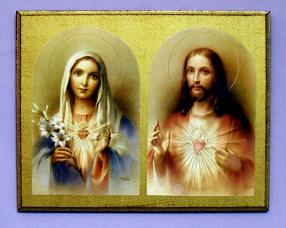 Sacred Heart of Jesus and Immaculate Heart of Mary Florentine Religious Plaque