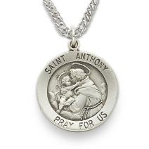 Small Sterling Silver Saint Anthony Medal with chain - engravable