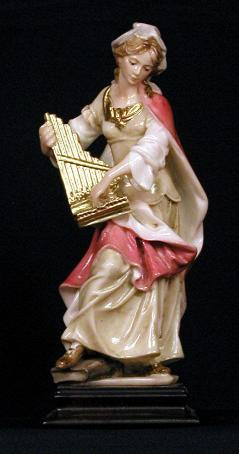 Hand-painted St. Cecelia Statue with wood base.