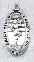 Sterling Silver Saint Christopher Cheerleader Medal
