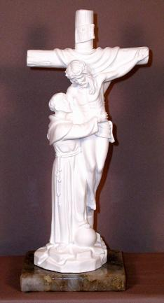 St. Francis with Christ Statue on Marble Base