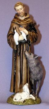 St. Francis with animals Statue - wolf Lamb and birds