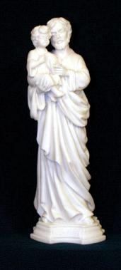 Catholic Religious Statues - St. Joseph and Child Statue in white alabaster