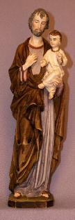 St. Joseph and Child Statue in hand-painted alabaster - Roman Catholic art and Home Decor Page