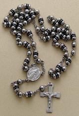 All Stainless Steel and hard black rubber Rosary, engravable Crucifix
