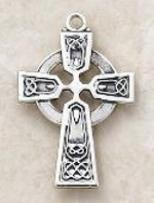 Large Sterling Silver Celtic Cross Pendant Necklace