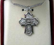 Sterling Silver First Communion 4-way medal in gift box