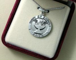 Sterling Silver Traditional First Communion Medal