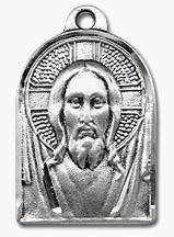 Sterling Silver Head of Christ Medal with Renassaince face of Jesus styling