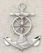 Sterling Silver Mariner's Crucifix Pendant necklace
