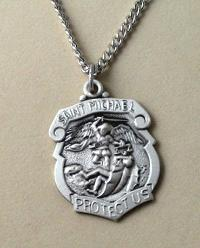 Small Sterling Silver St. Michael Policeman's Medal with engravable pendant
