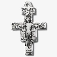 Small Sterling Silver San Damiano Crucifix Pendant Necklace