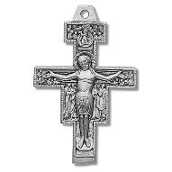 Sterling Silver San Damiano Crucifix Pendant necklace