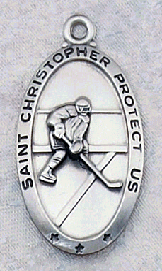 engravable Sterling Silver Saint Christopher Hocky Medal