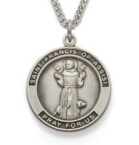 Round Sterling Silver St. Francis of Assisi Patron Saint Medal