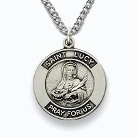 Sterling Silver St. Lucy Patron Saint Medal with engravable back.