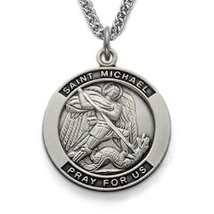 Sterling Silver St. Michael the Archangel Patron Saint Medal with engravable Pendant