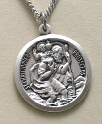 Sterling Silver Saint Christopher Medal with engravable medallion