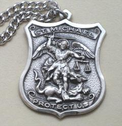 Sterling Silver St. Michael Policeman's Medal with engravable pendant