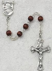 Image of Brown Wood and Sterling Silver Rosary