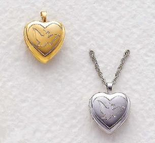 14KT Gold  and Sterling Silver heart shaped Holy Spirit Dove Locket