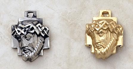 Sterling Silver and Gold over Silver Head of Christ Medal