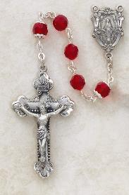Image of Sterling Silver Ruby Swarovski Crystal Rosary