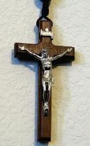 Wood Wall Rosary Crucifix with metal Corpus