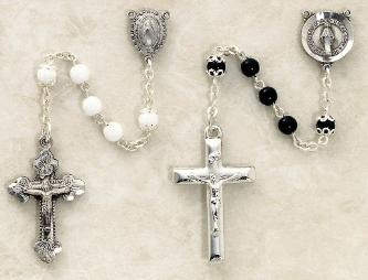 White and Black Silver Plated Glass Bead Rosaries for children