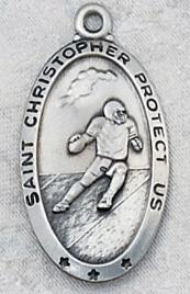 engravable Sterling Silver Saint Christopher Football Medal