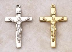 Large Catholic Crucifix Pendant by Creed in Sterling Silver and 22KT Gold over Silver